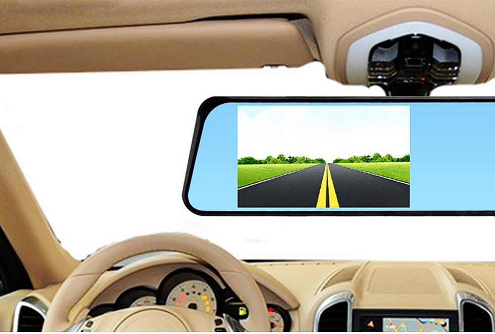 HD 4.3 inch LCD Dual Lens Car Video Dash Cam Recorder 3 in 1 Rearview Mirror Front Vehicle DVR Rear View Camera