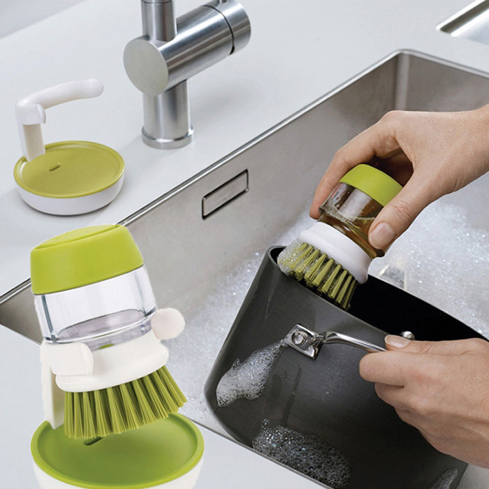 2 in 1 Cleaning Brush Small Detergent Can for Pot Pan Dish Bowl Kitchen Washing Tool