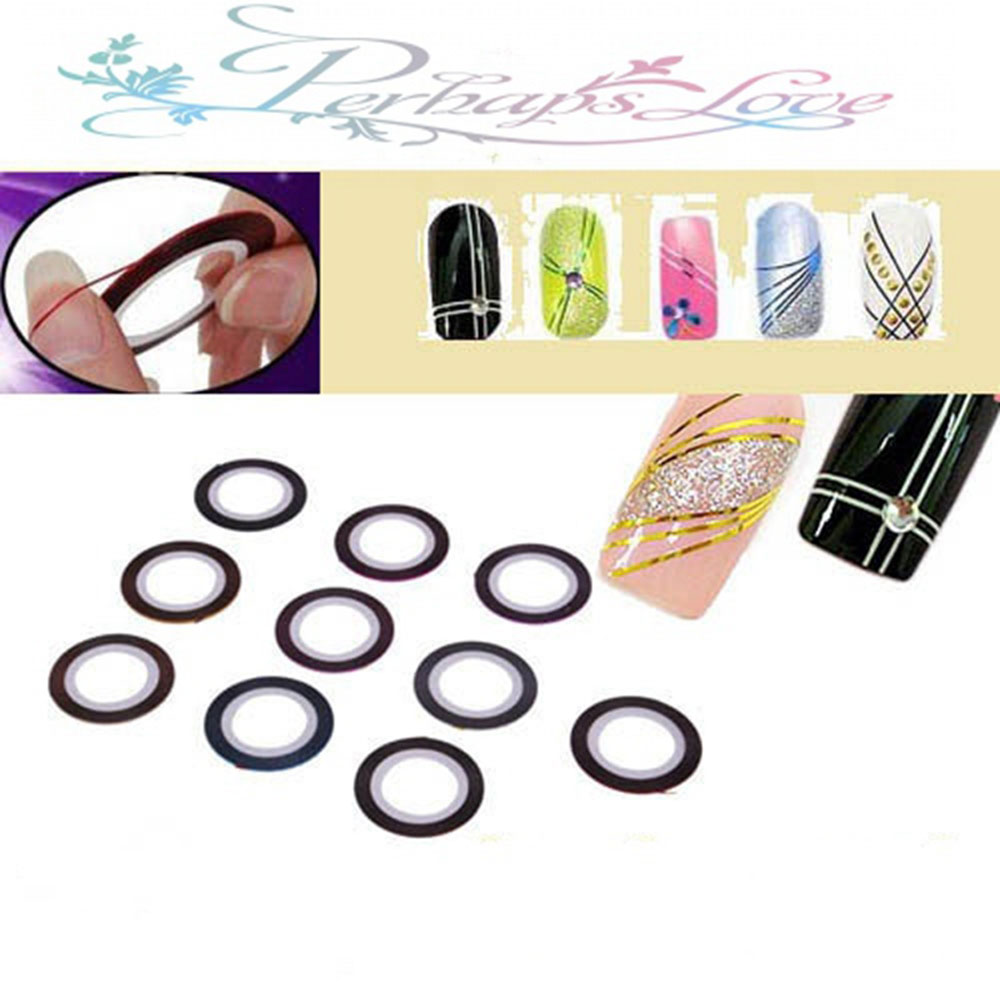 10 Color Manicure Jewelry Line Painted Radium Gummed Nail Stickers