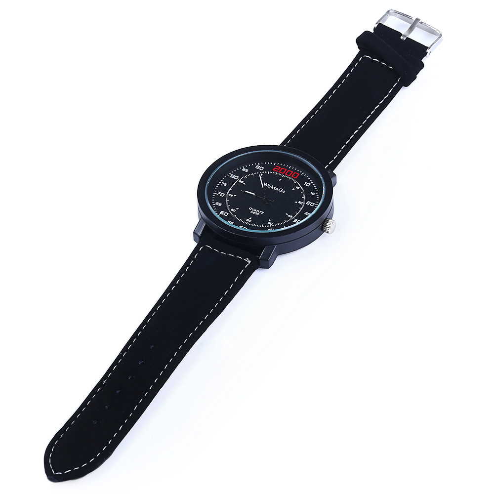 Womage A805 Quartz Watch with Double Scales Leather Band for Men