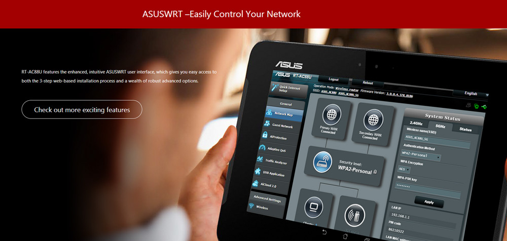 ASUS RT-AC88U Wireless Router MIMO Technology Dual Band Network WiFi Repeater