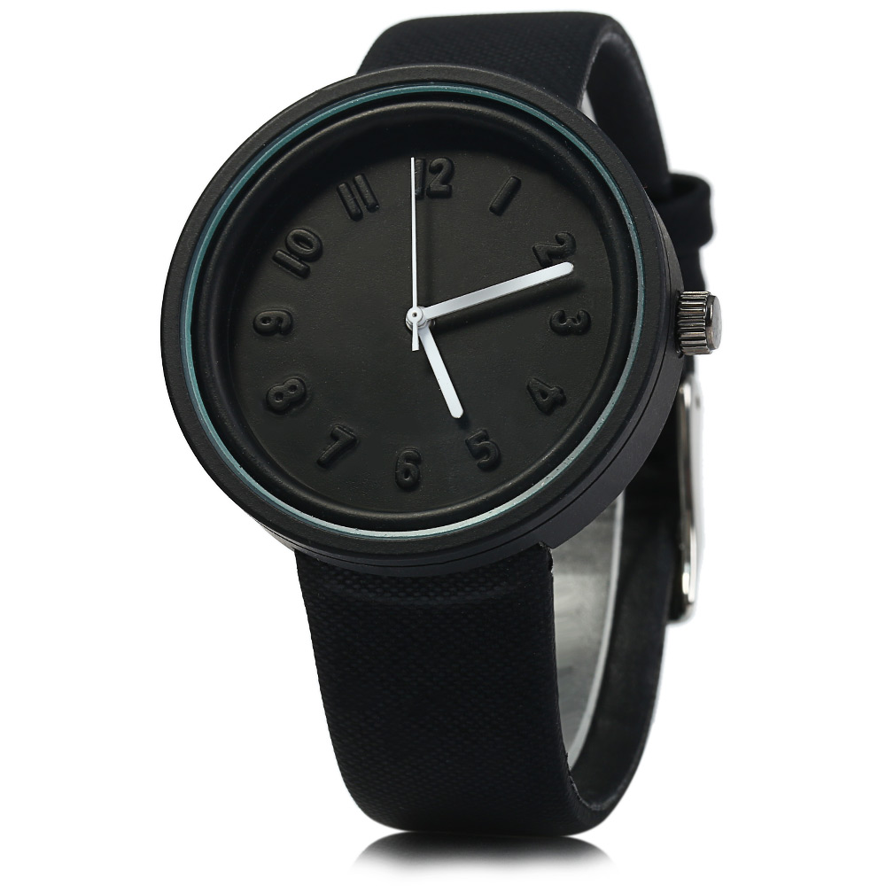 MILER A8289 Leather Band Quartz Watch Colloid Dial for Men