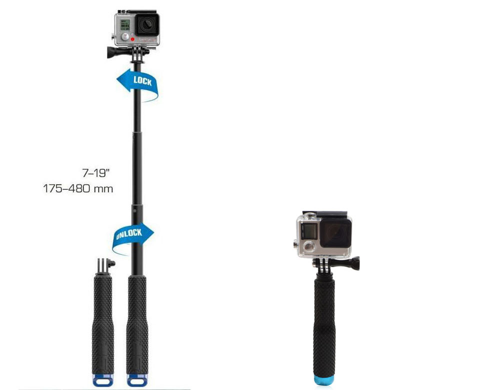 Extendable Action Cemera Handheld Monopod Selfie Stick with Wrist Strap for GoPro Hero 1 2 3 3+ 4
