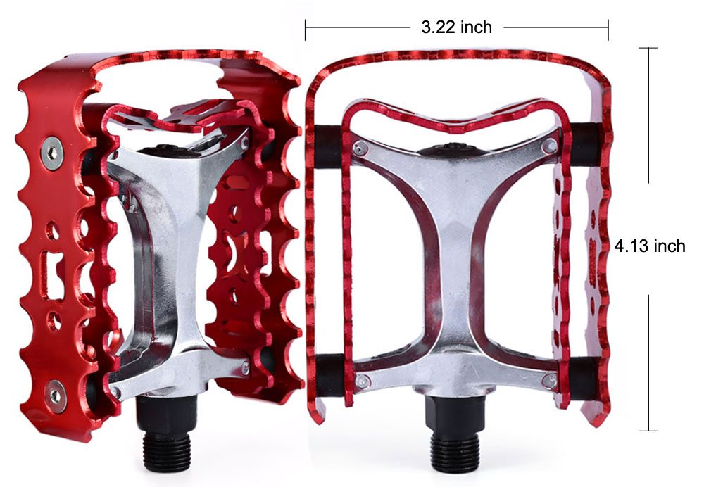 2 Pcs SETSAIL 662 Mountain Bike Pedals with Double-deck Gear Frame 2 Bearings