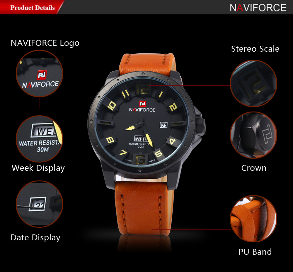 NAVIFORCE NF9061M Men Analog Quartz Watch Date Day Display 30M Water Resistance Wristwatch
