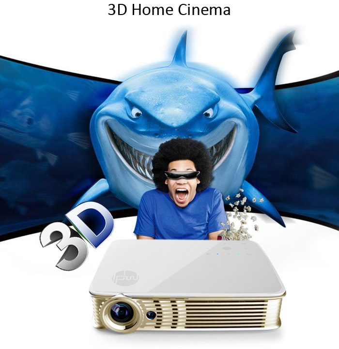 MDI i5 3D DLP Projector 3000 Lumens 1280 x 800 Pixels Android 5.1 WiFi Bluetooth with HDMI VGA USB RJ45 AUX TF Card Slot - 2GB RAM 8GB ROM