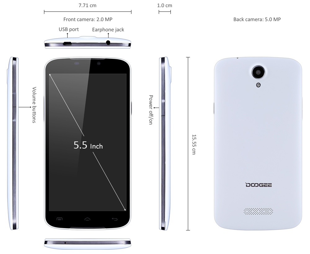 DOOGEE X6 5.5inch 3G Phablet Android 5.1 MTK6580 Quad Core 1.3GHz 1GB + 8GB 8.0MP Main Camera GPS OTA