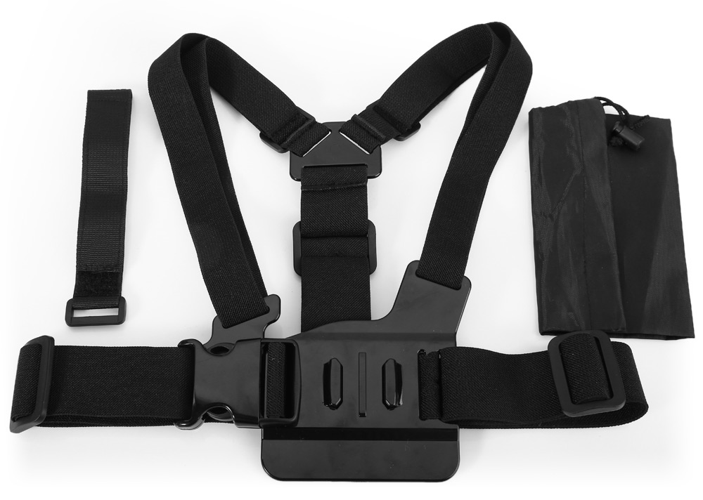 CP-GPK26 Adjustable Body Chest Belt Strap Mount Accessory with Velcro Fixed Strap / Storage Bag for Action Cameras