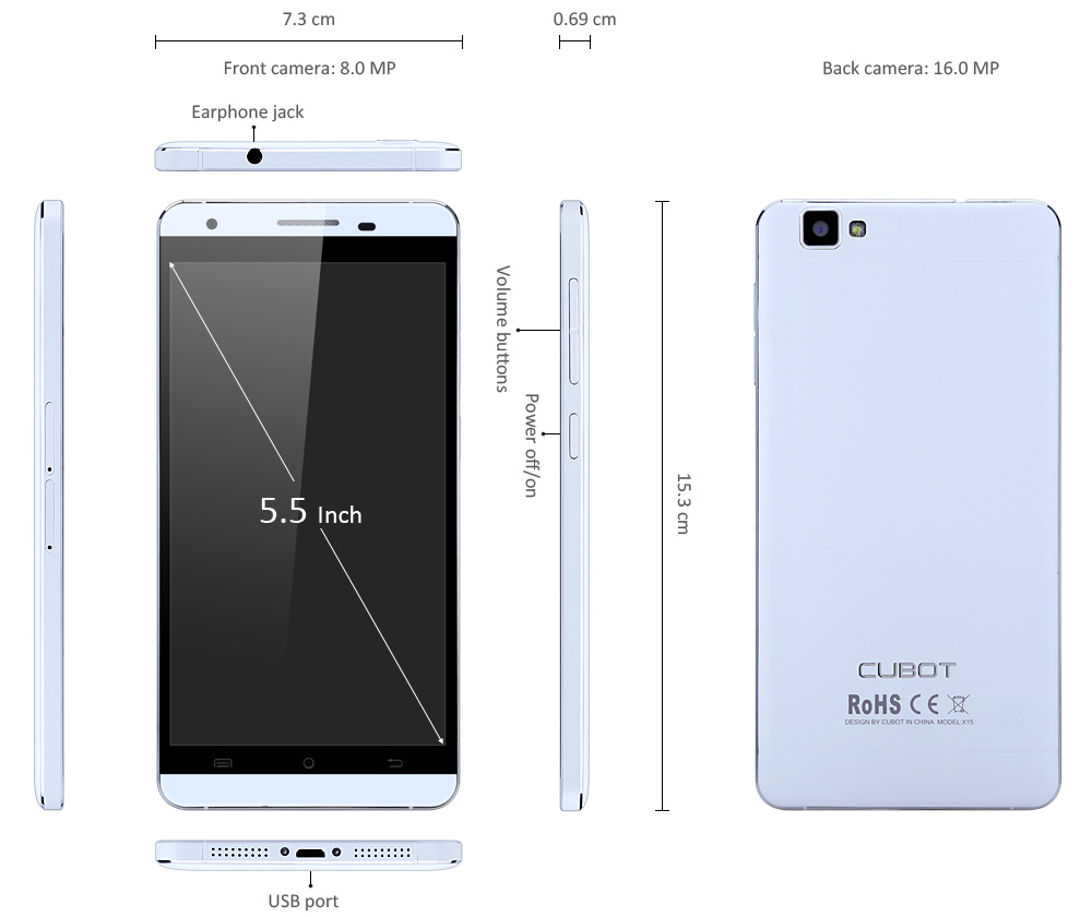 Cubot X15 Android 5.1 4G Phablet 5.5 inch 2.5D Glass FHD Screen MTK6735 64bit Quad Core 2GB RAM 16GB ROM 16MP Camera