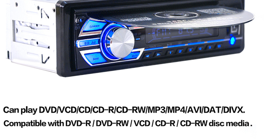 1563U FM Car Radio 12V Auto Audio Stereo Support SD MP3 Player AUX USB DVD VCD CD Player
