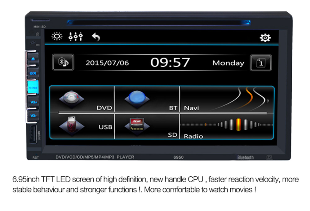 6950 6.9 inch Bluetooth V3.0 Auto Radio Double Din Car DVD Player In-dash Stereo Video Mic
