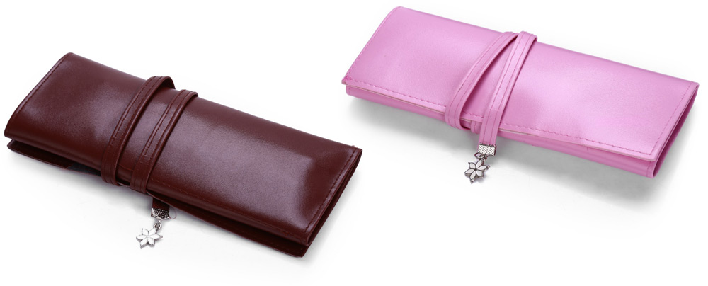 Retro Leather Pencil Bag with 3 Pen Makeup Cosmetic Brush Organizer Pouch Bags