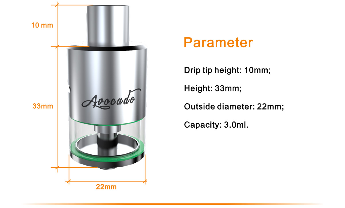 Original Geekvape Avocado RTA Atomizer with 3ml / Genesis Structure Tank for E Cigarette