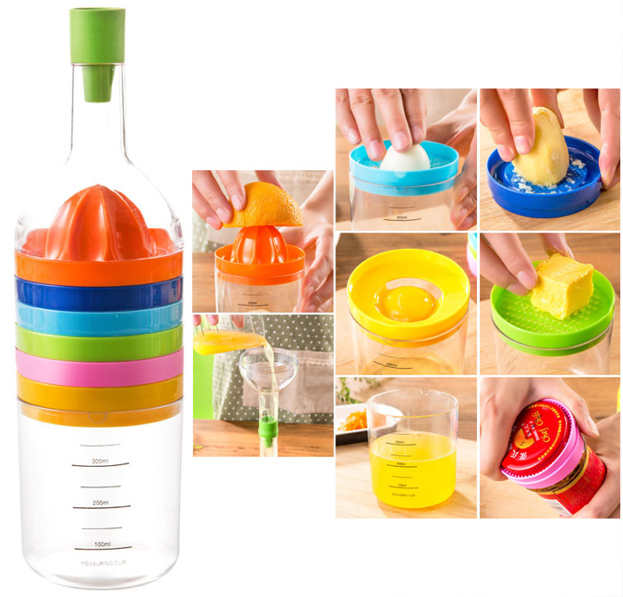 Multifunction 8PCS Fashion Kitchen Tools Funnel + Lemon Squeezer + Egg Masher + Cheese Grater + Cap Opener