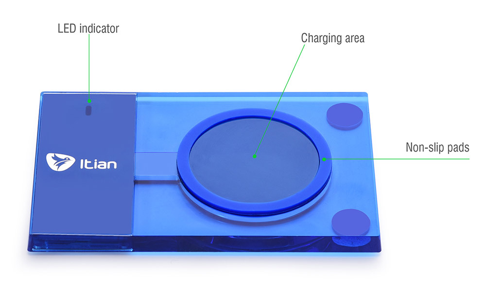 ITian A10 Universal Qi Wireless Charger Transmitter Ultra Thin Square Design