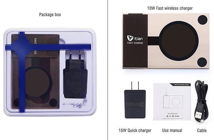 ITian A10 Qi Wireless Charger Transmitter for Samsung S6 Edge Plus / Note 5 Ultra Thin Square Design