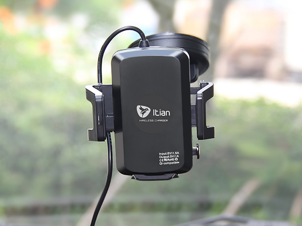 ITian C1 Universal Qi Wireless Charger Transmitter with Car Charge Adapter Sucker Mounted Mobilephone Stand Holder