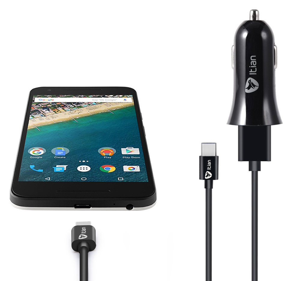 Itian Universal Car Charger Adapter with USB to Type C Data Transfer and Charging Cable