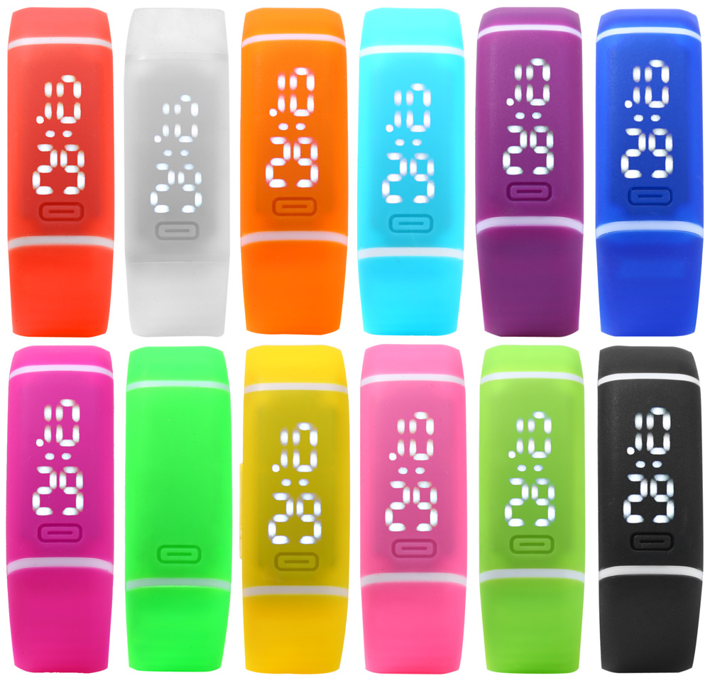 Candy Color LED Watch with Date Function Rubber Strap