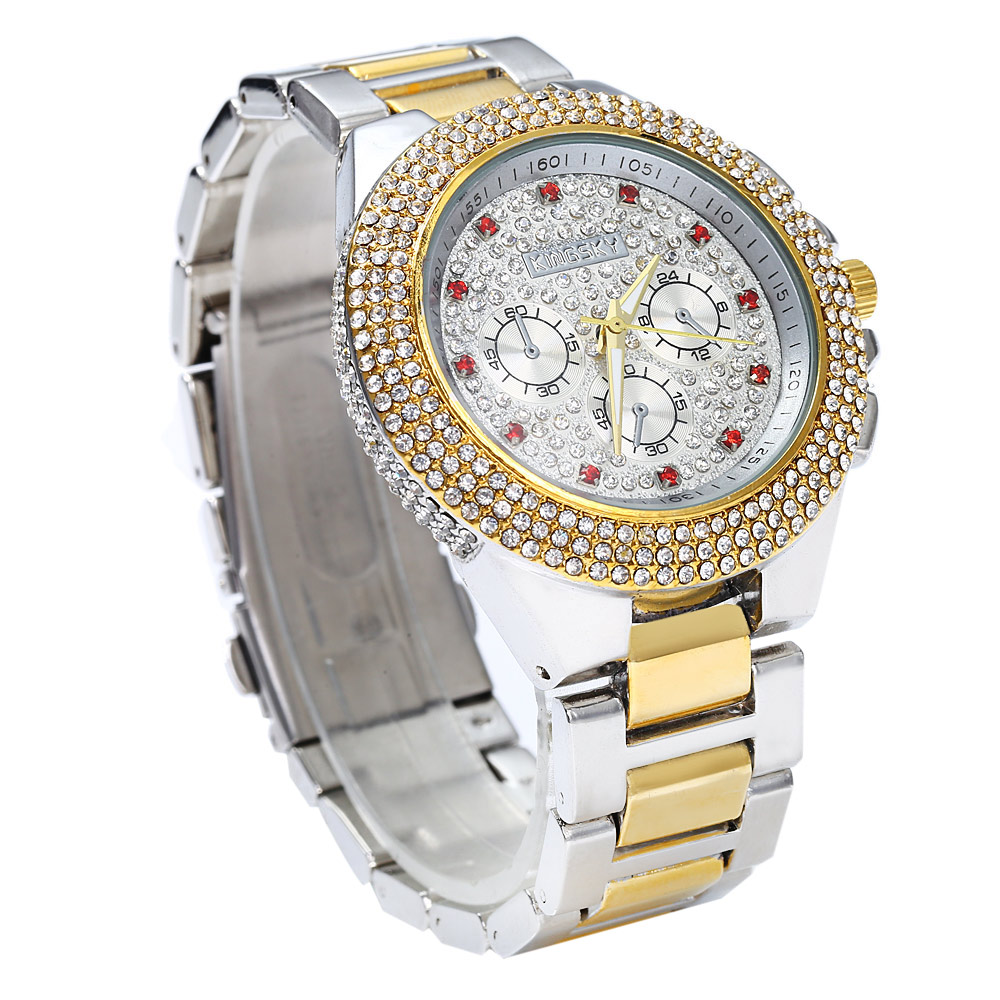 KINGSKY Luxury Diamond Women Quartz Watch Decorative Sub-dial