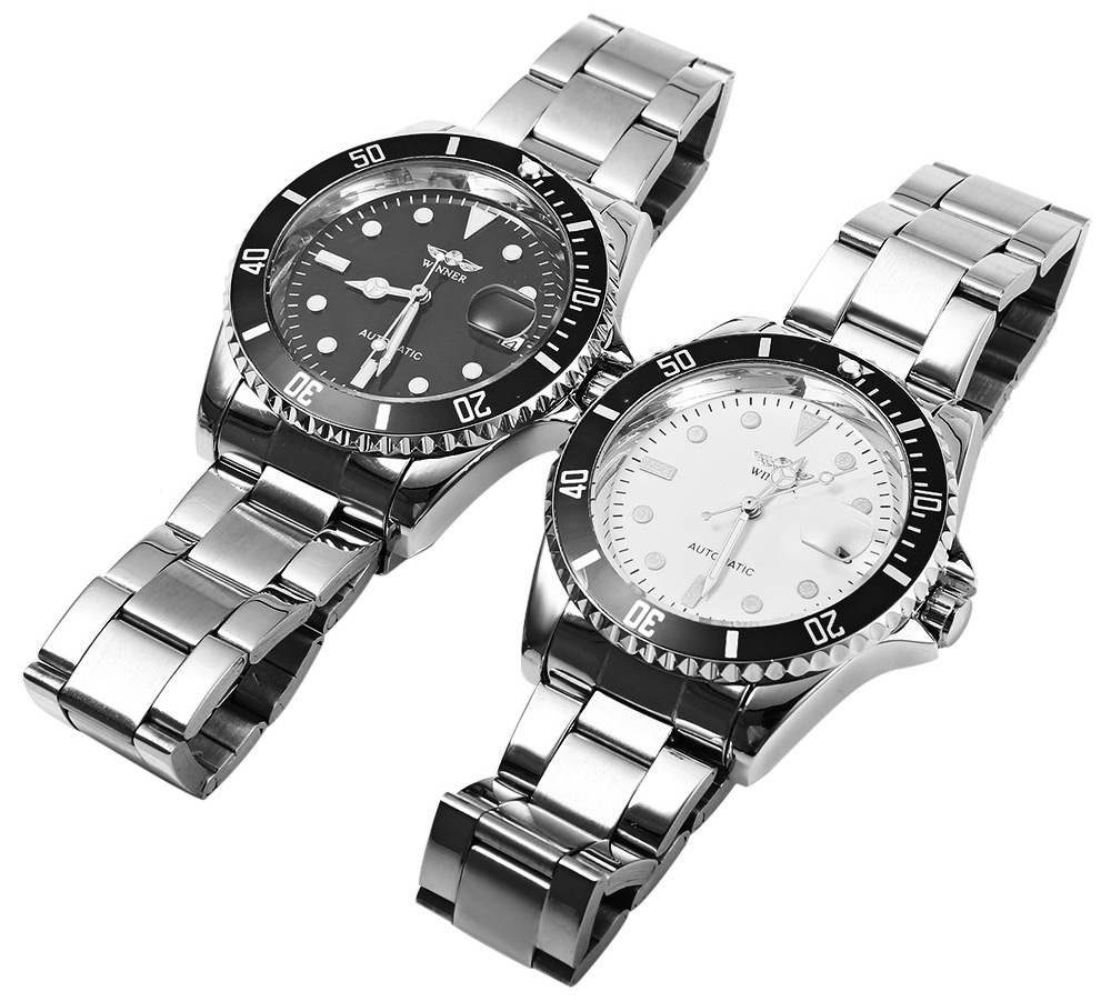 Winner W016 - 1 Automatic Mechanical Movement Men Watch Stainless Steel Band Date Display