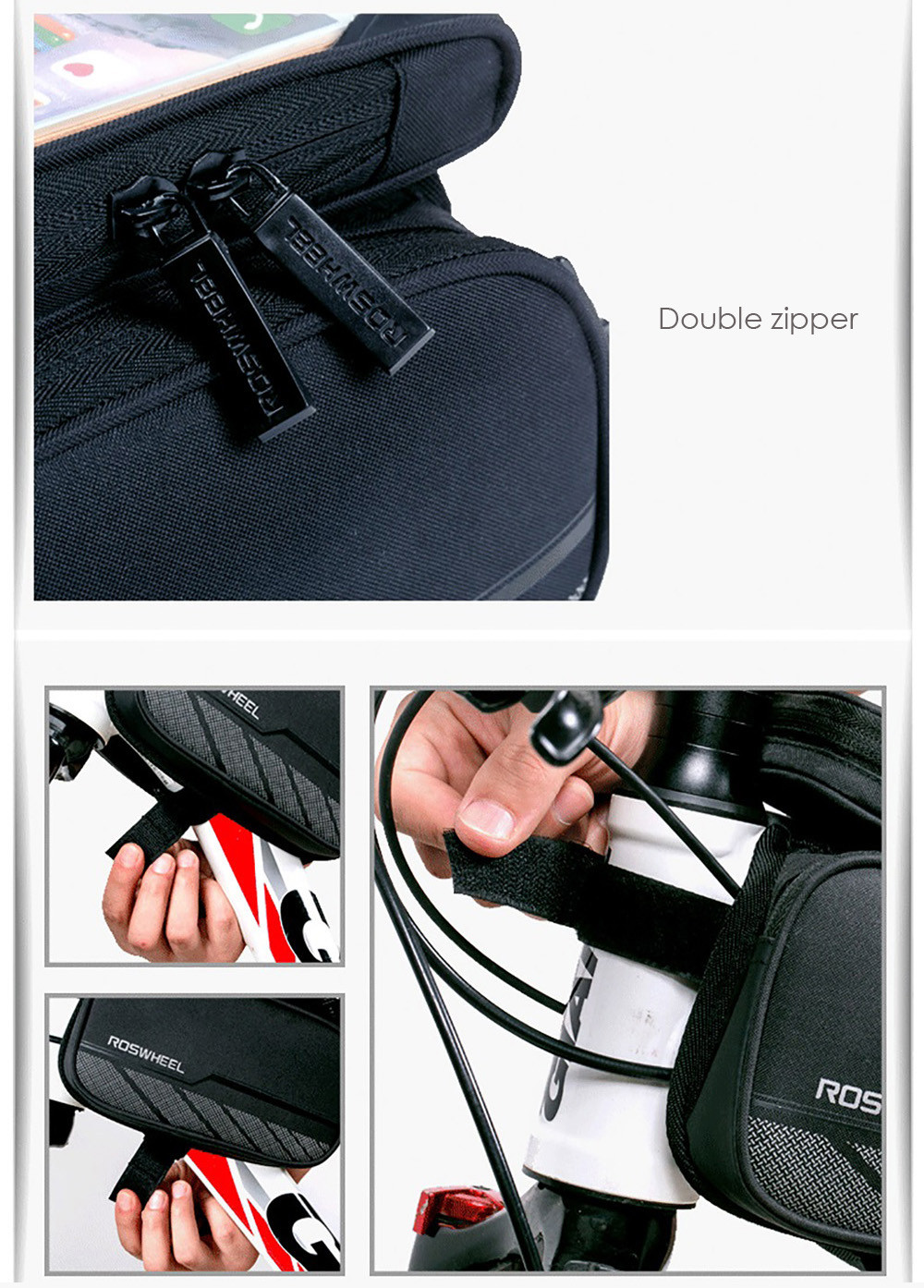 ROSWHEEL Bike Front Tube Phone Bag Double Pocket 5.5 inch Touch Screen Riding Cycling Supplies