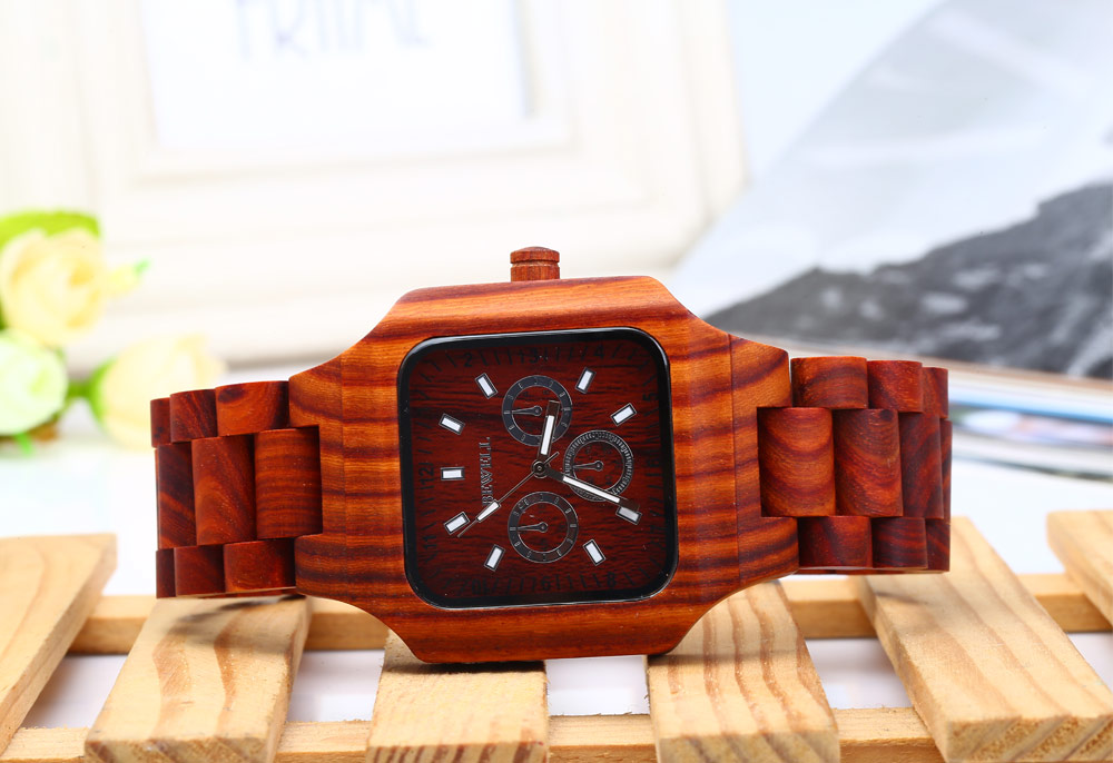 Bewell ZS - 001A Men Quartz Watch Wooden Band Case