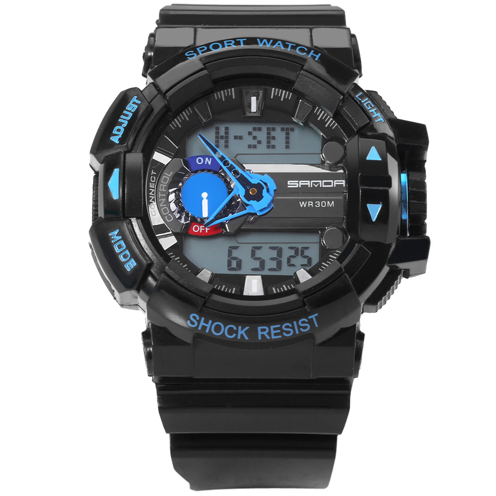 Sanda 599 Date Stopwatch Day World Time Function Sports LED Watch