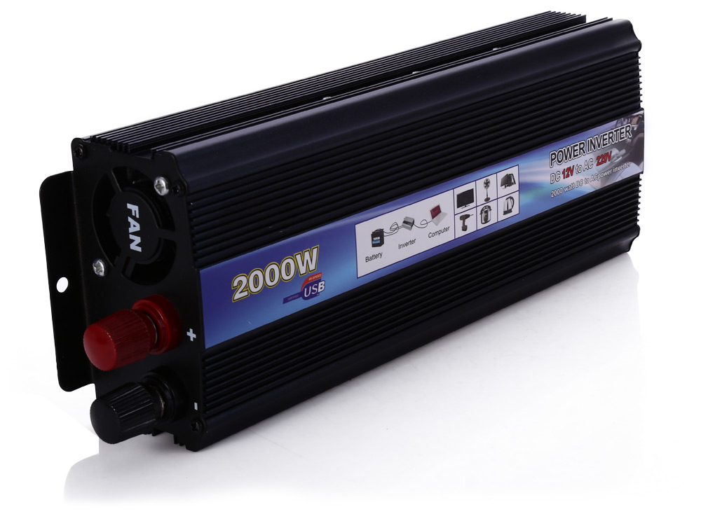 Car Inverter 2000W DC 12V AC 220V Vehicle Power Supply Switch On-board Charger