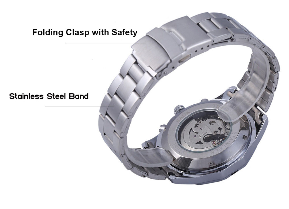 Winner W340 Men Hollow Automatic Mechanical Watch Stainless Steel Band