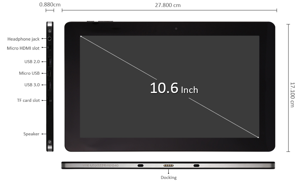 10.6 inch Chuwi Vi10 Ultimate Windows 10 Ultrabook Tablet PC Intel Cherry Trail Z8300 64bit Quad Core 1.84GHz IPS Screen 2GB RAM 64GB ROM WiFi OTG Bluetooth 4.0