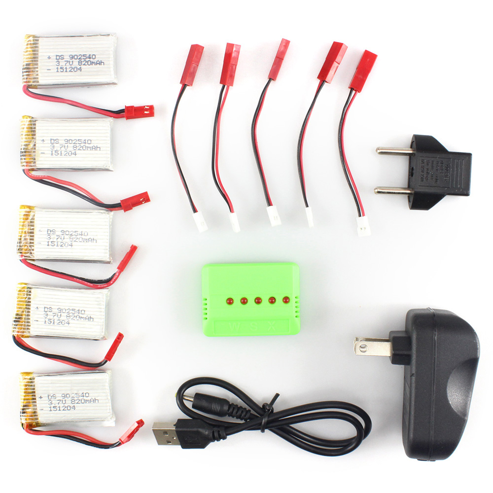 Battery Charging Set 5Pcs 3.7V 820mAh Lipo + Balance Charger with Adapter / Cable for MJX X800 X300 RC Drone