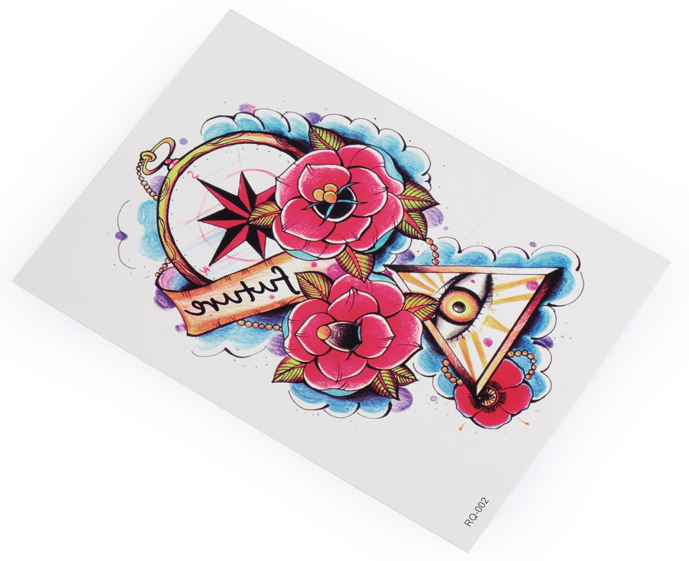 Fashion Halloween Horror Eyes Flowers Temporary Tattoos Stickers