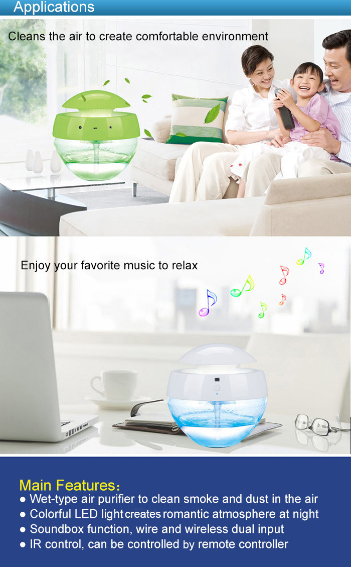 Versatile LED Table Lamp Night Light with Air Purifier Bluetooth Speaker