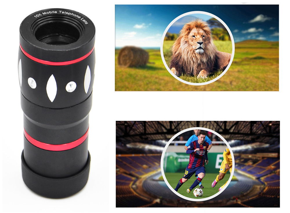 Angibabe 4-in-1 Universal Camera Lens Kit with Macro Lens Wide Angle Lens Fisheye Lens 10X Telephoto Lens Telescope