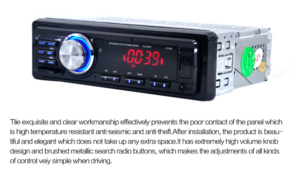 1131B Car Audio Stereo Bluetooth V2.0 Support FM USB SD Mp3 Player AUX Mic with Remote Control