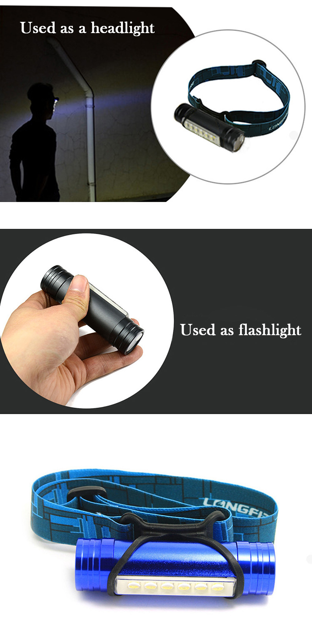 4 in 1 Multifunction 6 LED 3W 1200Lm Headlight Power Bank Camping lamp