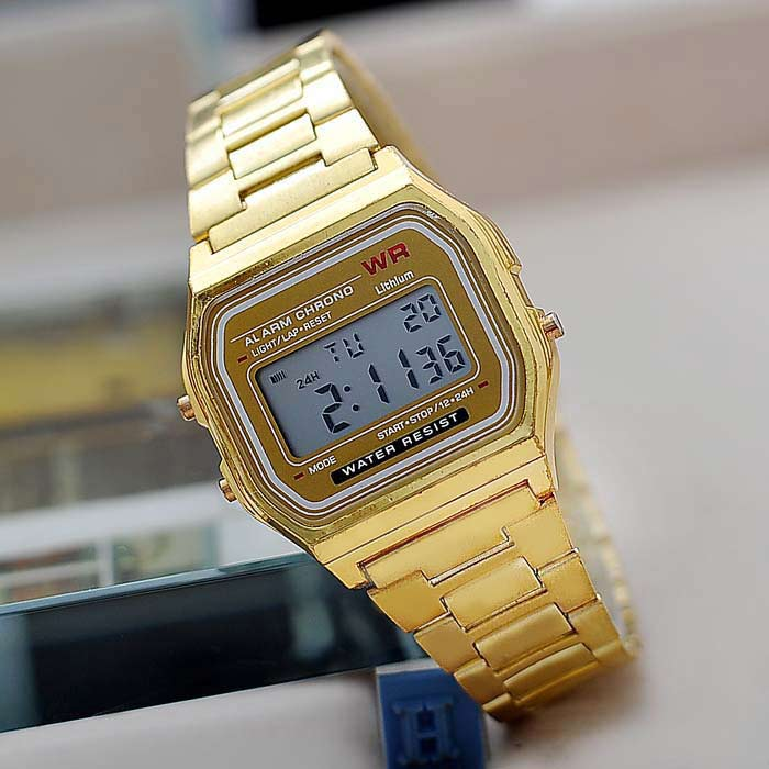 Multifunctional Digital Men Watch with Stainless Steel Strap