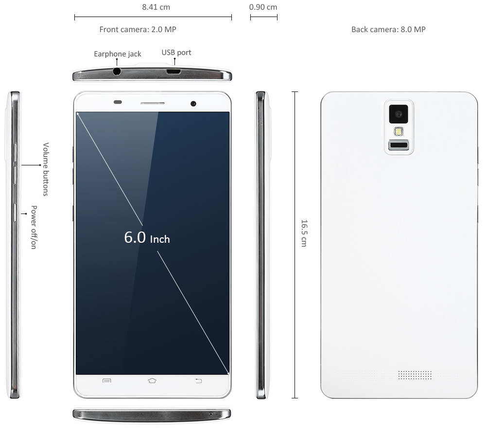 S90+ 6.0 inch 3G Phablet Android 5.0 MTK6582 Quad Core 1.3GHz 1GB RAM 8GB ROM WiFi Bluetooth Dual Cameras
