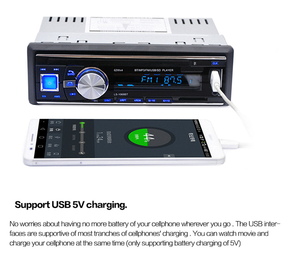 1068 Car Audio Stereo Bluetooth V2.0 Support FM USB SD Mp3 Player AUX Mic with Remote Control