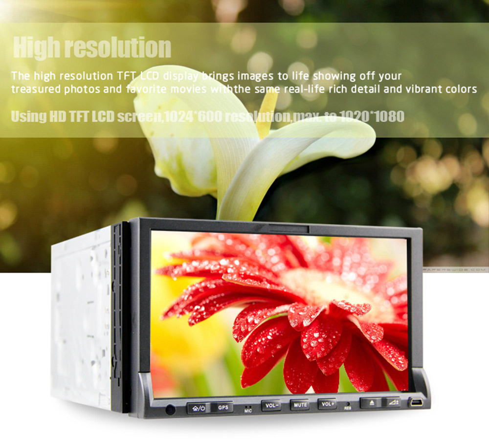 DJ7019 Double Din WCE Car DVD Player GPS Navigation MTK3360 TPU Universal Auto Radio Audio Stereo