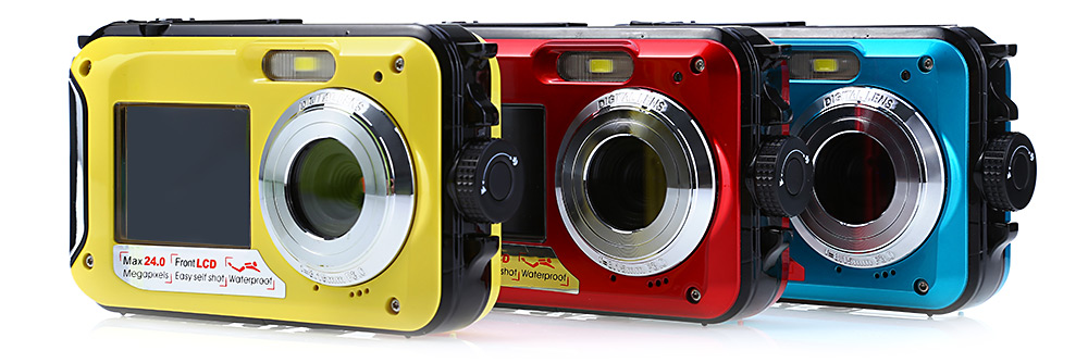 Double Screens Waterproof Digital Camera Video Camcorder with 24MP F3.0 Lens Support TF Card 32GB