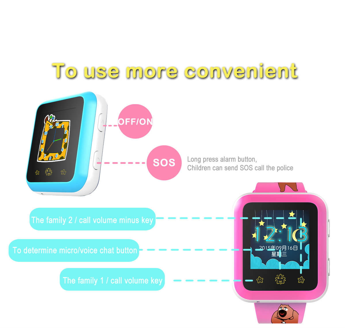 RWATCH XIAO R 1.22 inch Children GPS Smartwatch Phone Touch Screen MTK6261 SOS WiFi Bluetooth Family Numbers IP65 Water-resistant