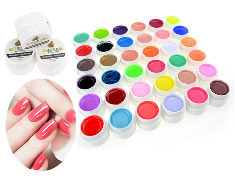 36 Pure Colors Pots Bling Cover UV Gel Nail Art Tips Extension Manicure for Girls