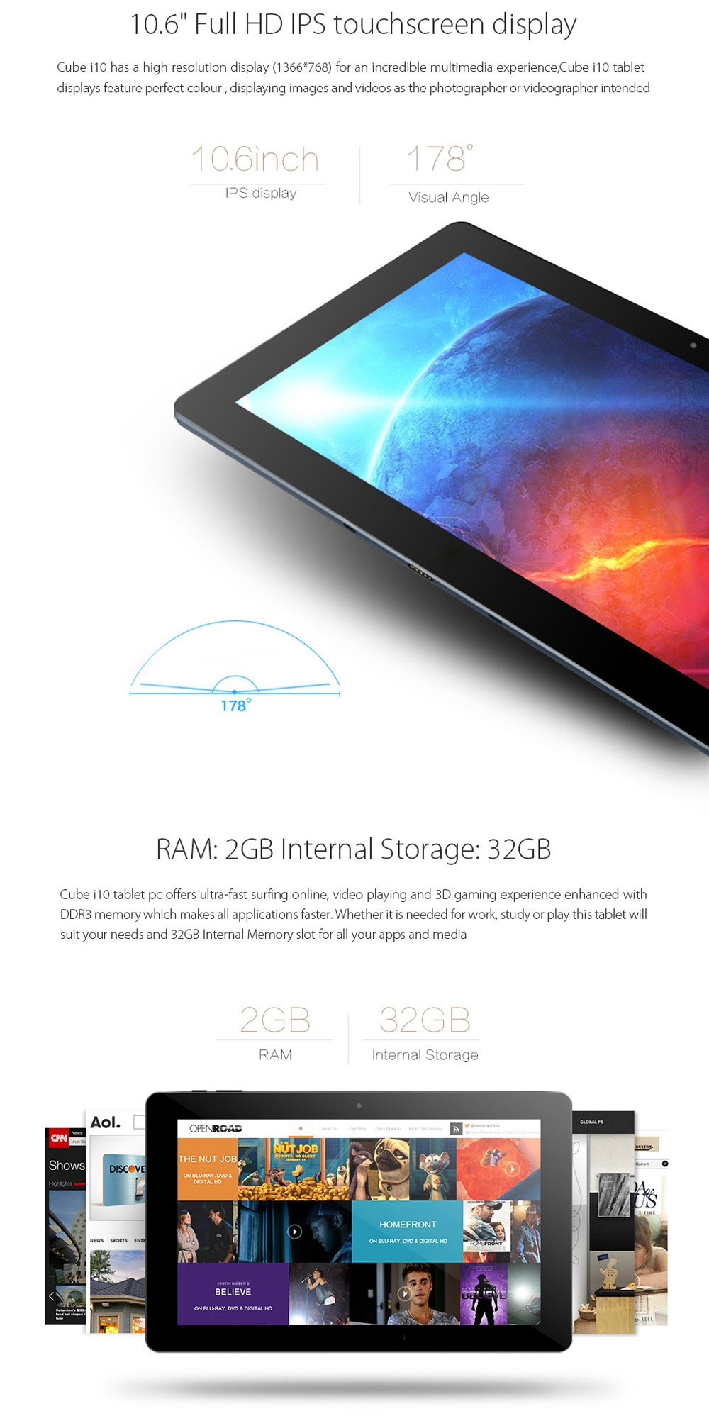 Cube I10 Android4.4 + Win10 Ultrabook Tablet PC