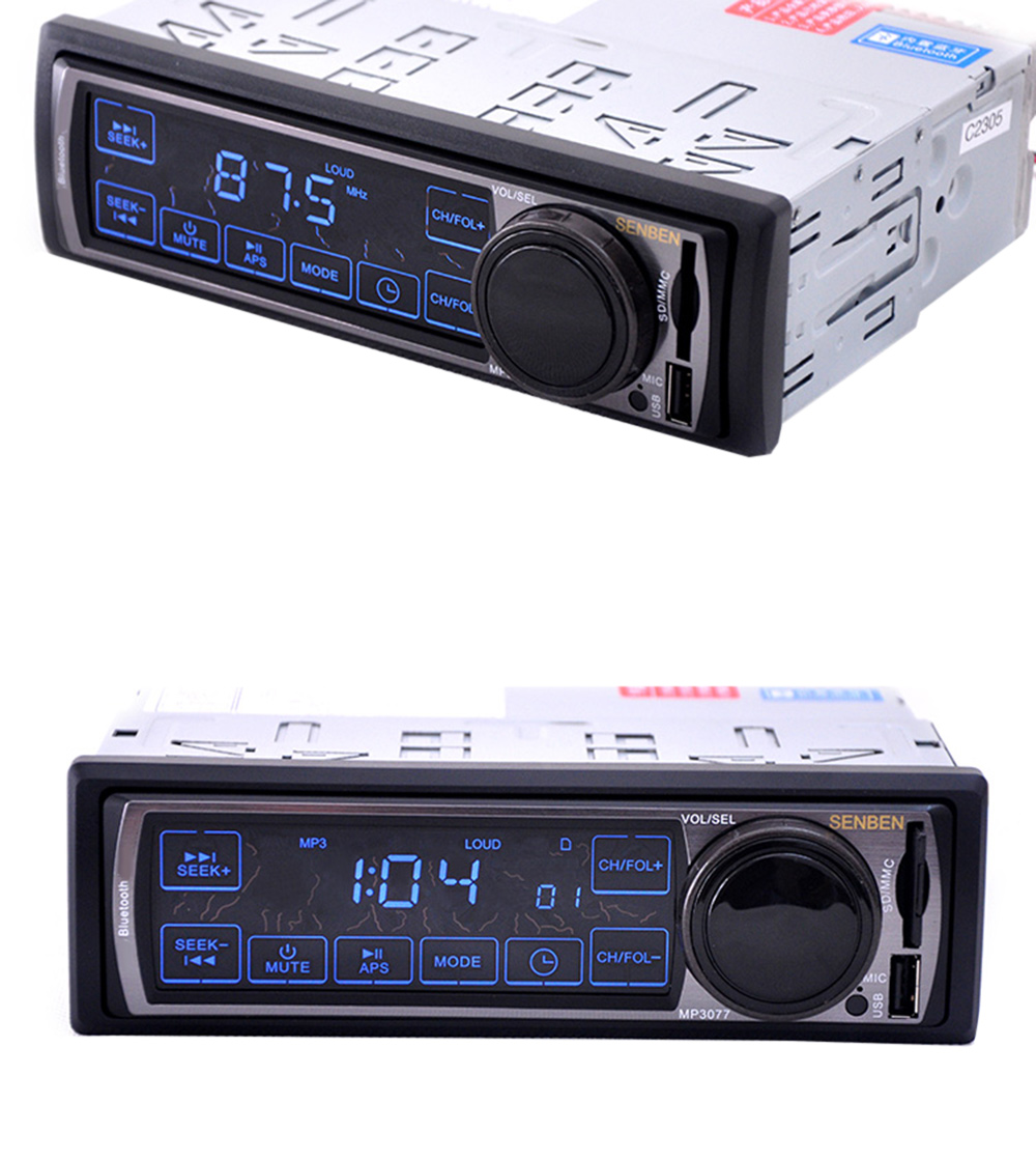 3077 Car Audio Stereo Bluetooth V2.0 Touch Screen Support FM USB SD Mp3 Player AUX Mic