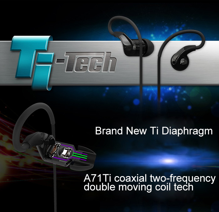 FIDUE A71Ti HiFi Music In-ear Earphones with Mic Coaxial Double Dynamic Unit Super Bass