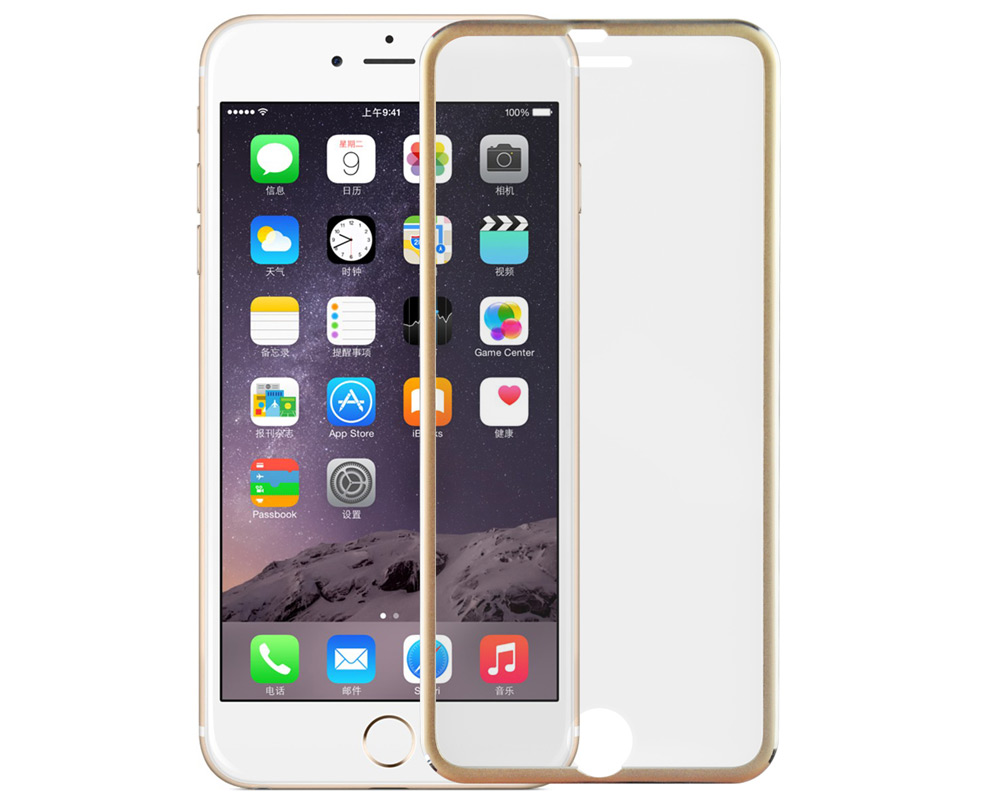 Angibabe 0.3mm 3D Arc Tempered Glass Screen Protector Film for iPhone 6 Plus / 6S Plus Titanium Alloy Frame