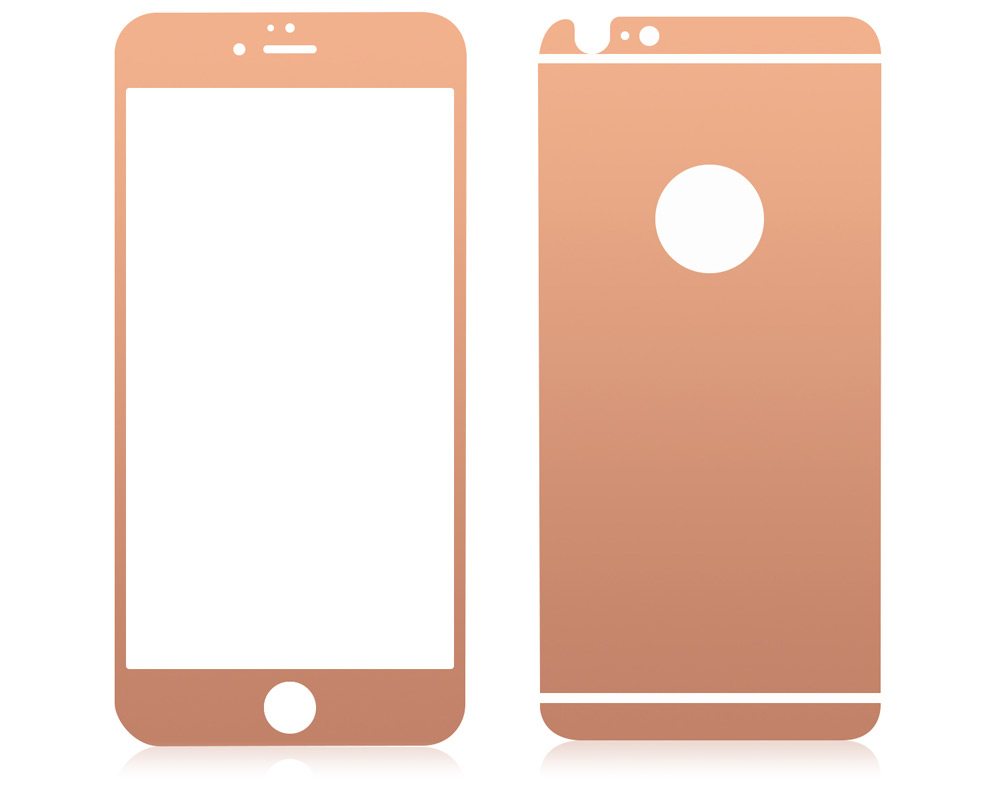 Angibabe 2 in 1 0.3mm Tempered Glass Screen Film Back Protector for iPhone 6 / 6S Electroplated Mirror Anti-scratch
