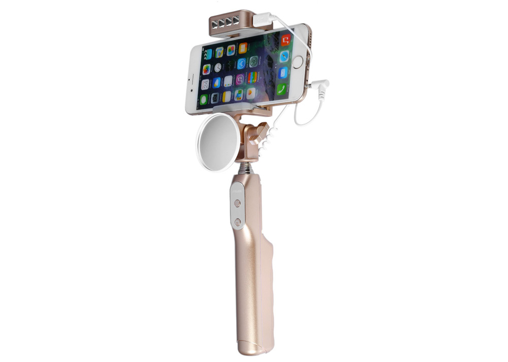 Mlais 2 in 1 Selfie Monopod Self Stick 3200mAh Power Bank with Fill-in Flash Mirror